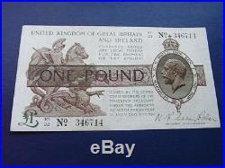 Great Britain and Ireland One Pound note, 1923 issue, Waren Fisher K1/33 series