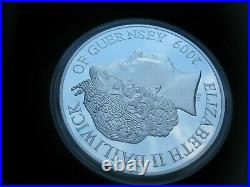 Guernsey 2009 5 oz Silver Proof £10 Pound Coin Moon Landing One Small Step