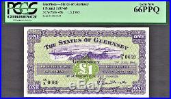 Guernsey One Pound 1963 LOW Serial # 0070 Pick-43b GEM UNC PCGS 66 PPQ