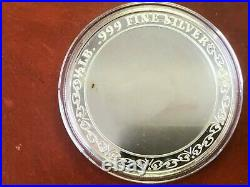 Happy Holidays One Half Pound (6 Troy Ounces). 999 Fine Silver Round Coin, 3.5