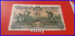 Ireland 1936 One 1 Pound Banknote Eire Rare Irish Fine Bank Punt Note