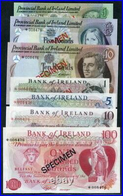 Ireland 1978, 1/5/10/100 Pounds, CS1, 1/5/10 Pounds Specimen, CS2, 7 PCS All UNC