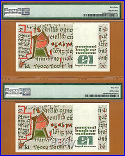 Ireland 2 Consecutive Serial One Pound Replacement (BBB) Pick-70d Ch UNC PMG 64