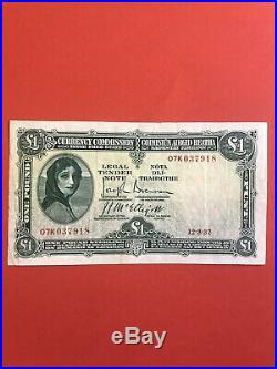 Ireland Currency Commission Irish Free State One Pound, date 12.3.37 Nice VF