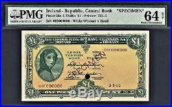 Ireland Lady Lavery One Pound SPECIMEN Pick-64s PMG 64 Choice UNC Rare
