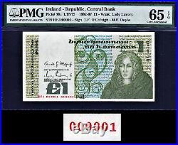 Ireland One Pound 1986 Pick-70c LOW Serial 000001 GEM UNC PMG 65 EPQ