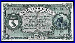 Isle of Man, Martins Bank limited, One Pound, 224801, 1-2-1957, Extremely Fine