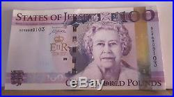 Jersey £100 Banknote One Hundred Pound Diamond Jubilee note prifix QE60009110
