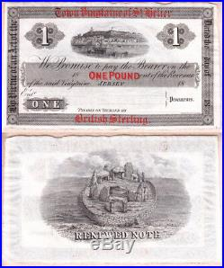 Jersey 1800's One Pound Remainder Town Vingtaine of St. Helier. AU Condition
