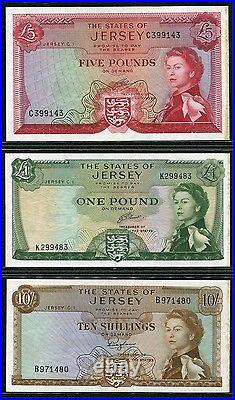 Jersey 1963,10 Shillings/1 Pound/5 Pounds, P7-9b, UNC with Right Border stain