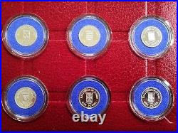 Jersey Collection Of Silver Proof 12 Parishes £1 One Pound coins RARE Red Case