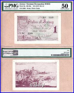 Jersey German Occupation WWII 1941-42 One Pound PMG AU50, P-6a