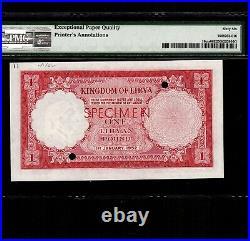Libya 1 Pound 1952 P-16ct PMG Gem Unc 66 EPQ Color Trial Specimen