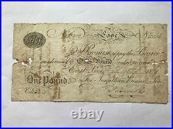 Looe One Pound, 1818 Provincial Banknote, Good, RARE
