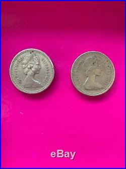 Lot Of 2 1983 UK Great Britain British One 1 Pound Shield Coins