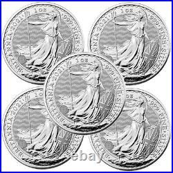 Lot of 5 2021 United Kingdom 2 Pound Silver Britannia. 999 1 oz BU IN STOCK