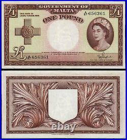 MALTA 1 POUND (P24b) QEII L. 1949 (1954) EF