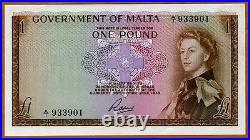 Malta, 1 Pound, L. 1949 (1963), QEII, P-26, aUNC-UNC