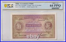 Malta 1940 One Pound P# 20C PCGS 64PPQ