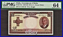 Malta One Pound 1949 (ND 1951) Pick-22a CH UNC PMG 64