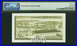Malta One Pound 1967 (ND 1969) QEII Pick-29a GEM UNC PMG 66 EPQ