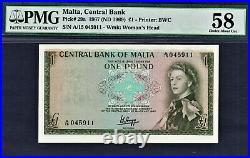 Malta One Pound 1969 QEII Pick-29a About UNC PMG 58