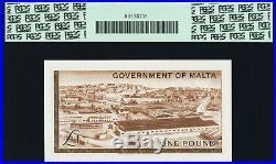 Malta One Pound L 1949 ND 1963 QEII Pick-26a Prefix- A/1 GEM UNC PCGS 66 PPQ
