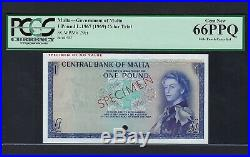 Malta One Pound L. 1967 (1968). P29ct Specimen Color Trial Uncirculated