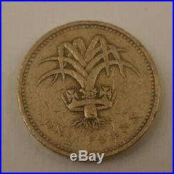 Moneta Rara Errore One Pound Sterlina Porro Galles 1985 Scritta Sottosopra