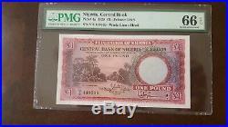 NIGERIA 1958 £1 ONE POUND P4a GEM UNC PMG 66 EPQ