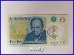 New £5 Five Pound Polymer Bank Note Aa13 337393 Low Number Circulated Aa