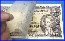 New Zealand One Pound Fleming Banknote. Rare Million Serial Number Note