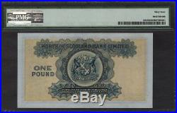 North of SCOTLAND Bank Ltd One Pound 1945 Pick-S644 CH UNC PMG 64