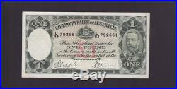 Old Commonwealth of Australia One Pound Banknote Riddle Sheehan P-732