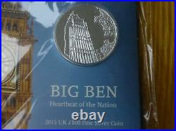 One Hundred Pounds £100 2015 Big Ben. 999 Silver Royal Mint Pack Unopened