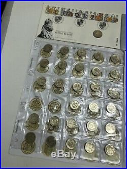 One Pound £1 Coin Open Album Complete With 45 Circulated & 5 Uncirculated Coins
