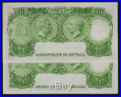 One Pound Banknote 1961 Coombs Wilson R34a HH/23 dark green pair
