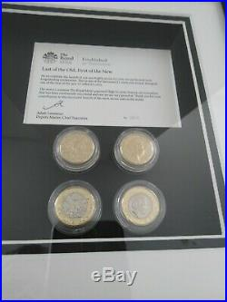 One Pound Coin, Royal Mint Issue Last Of The Old First Of The New Framed