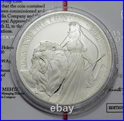 One Pound St. Helena 2020 Una & The Lion Proof 1 oz Ag Nur 750 Stück