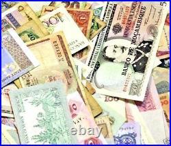 One Pound World Banknotes, Paper Money, around 550 notes, 1/2 mint Diverse Mix