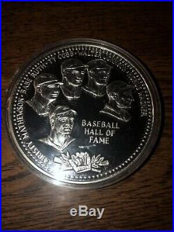 One Troy Pound. 999 Silver Coin 1989 Baseball HOF Cooperstown Babe Ruth
