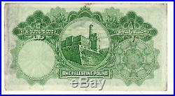 PALESTINE RARE ONE POUND 1929 3 èpinglages discret bas du billet RARE RARE