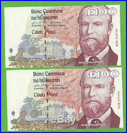 Pair In Sequence Parnell C Series Irish One Hundred Pound Notes £100 Ireland