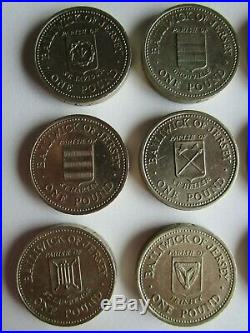 Parishes of Jersey one pound coins complete set of twelve