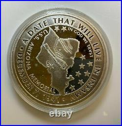 Pearl Harbor 50th Anniversary 1 One Pound. 999 Silver Round in Display Case