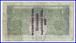 Peppiatt One Pound Banknote WWII Guernsey Overprint Sept 1941 Prefix A10A RARE
