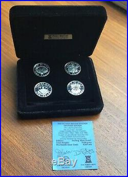 Pobjoy Mint Isle Of Man Silver Piedfort 4 One Pound £1 Coin Boxed Set With COA