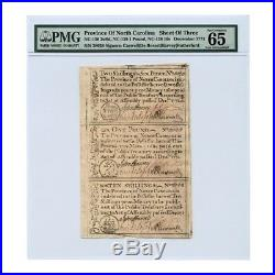 Province of North Carolina Uncut Sheet 2s 6d, One Pound, 10s 1771 PMG65 Gem Unc