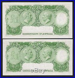 R-34b. (1961) One Pound. Coombs/Wilson. Reserve Bank. AU-UNC CONSEC Pair