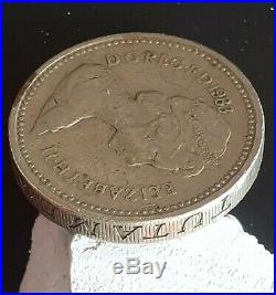 RARE 1983 Royal Arms £1 One Pound coin MINT ERROR UPSIDE DOWN WRITING